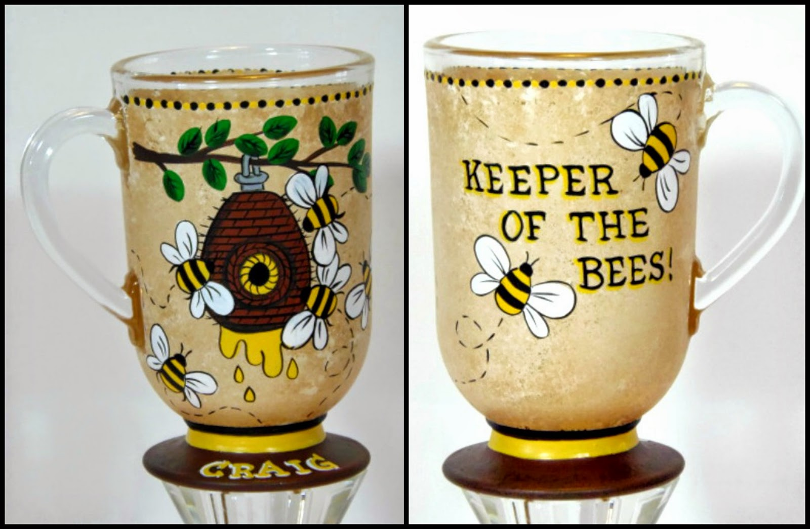 Keeper of the Bees custom painted coffee mug / www.kudoskitchenbyrenee.wazala.com