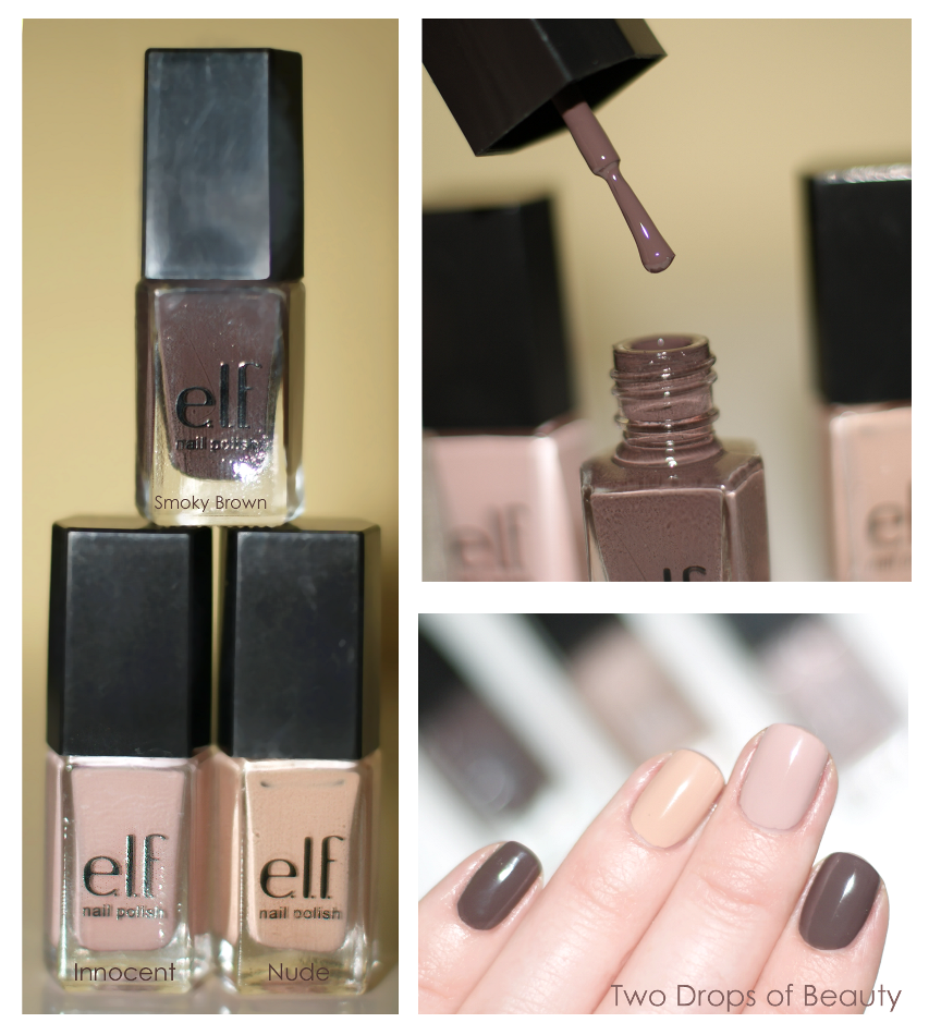 Elf, лак для ногтей, свотчи, swatch innocent, nude, smoky brown