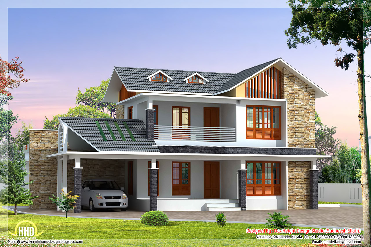 2 beautiful villa elevation designs in 2700 for Different style house plans