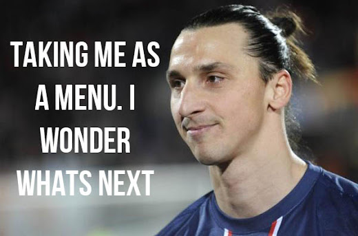 Menu Using Zlatan Ibrahimovic's Image