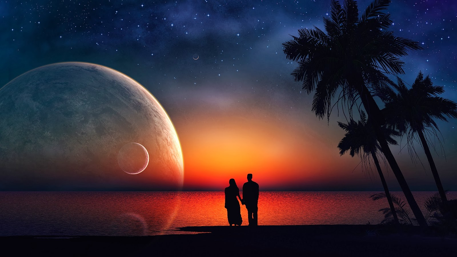 Romantic Love couple Kiss Wallpaper : Romantic Love Pictures for her - Hug and Kiss, couples Dance in Moonlight Wallpaper, Images, Photos