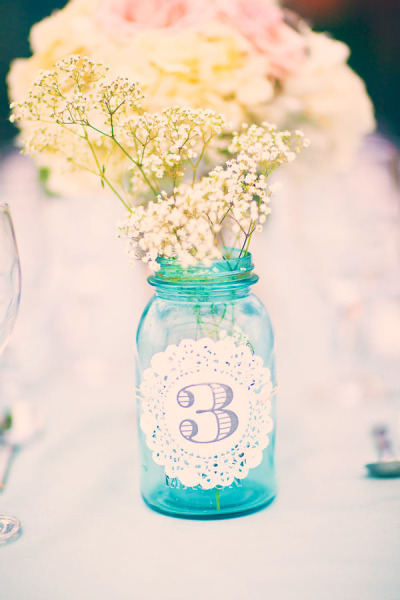 Mason Jar Wedding Ideas - Table Numbers with Doily Label and Baby's Breath