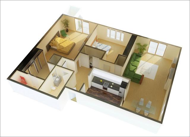 Mẫu căn hộ có 2 phòng ngủ
