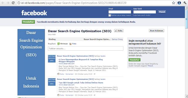 Facebook Page untuk Blog SEO Google untuk Indonesia