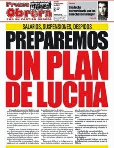 Tapa de PRENSA OBRERA (Semanario del Partido Obrero)