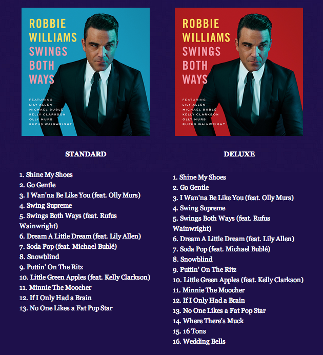Robbie williams spanish blog swings both ways primer single
