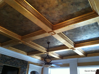 gold leafed trim, gilded trim, coffered ceiling