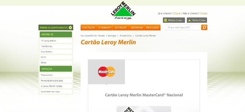 cia dos cart es solicitar cart o leroy merlin visa mastercard. Black Bedroom Furniture Sets. Home Design Ideas