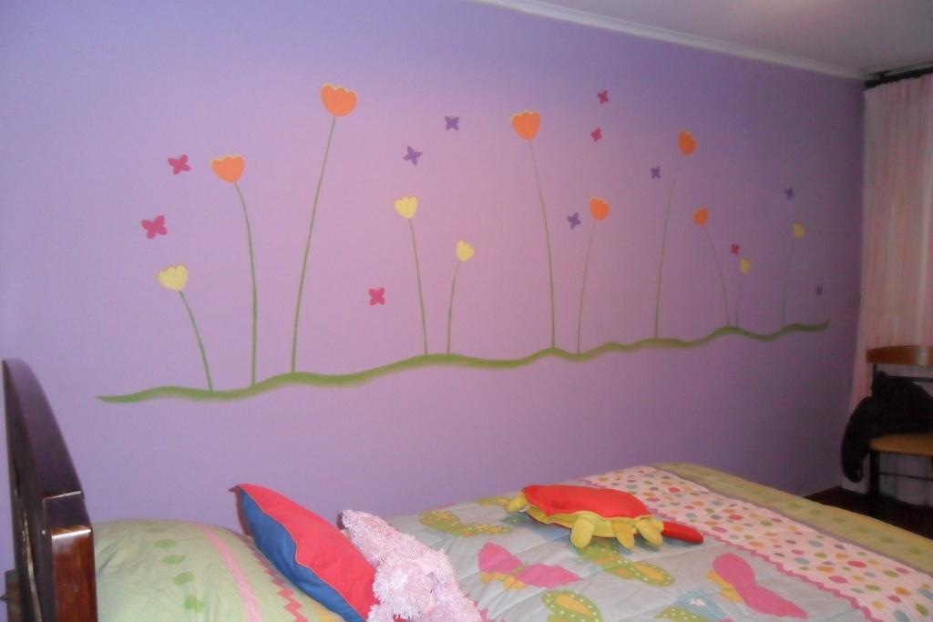 Murales infantiles mural de ni a con flores mariposas y for Mural de flores y mariposas
