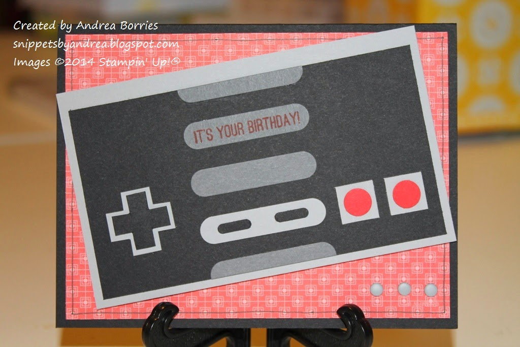 Birthday card featuring a classic NES controller made with punched and cut card stock.