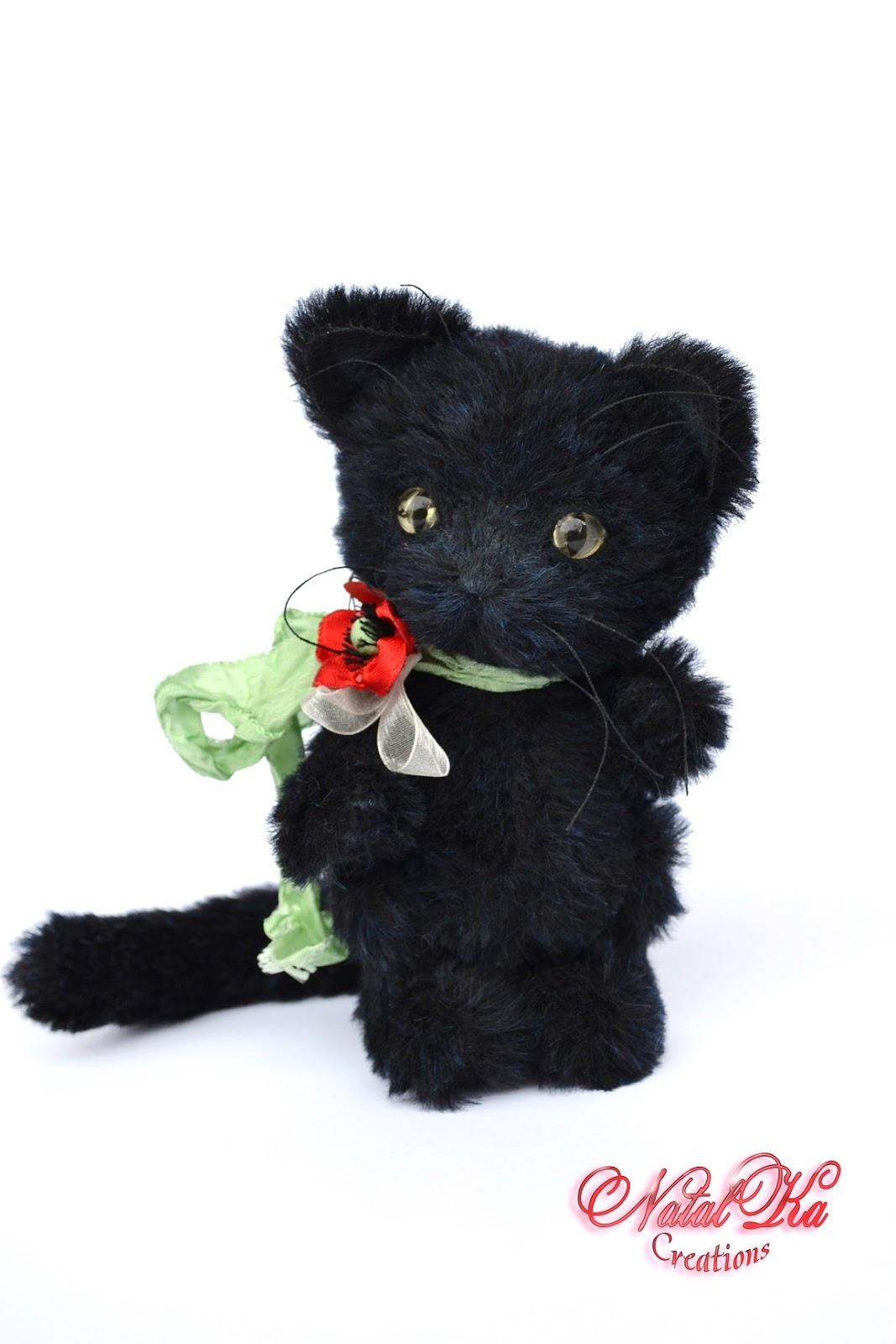 Artist teddy cat, artist kitty, teddies, jointed, ooak, handmade by NatalKa Creations. Künstlerkatze, Künstlerteddy, Teddy, Unikat, handgemacht von NatalKa Creations.