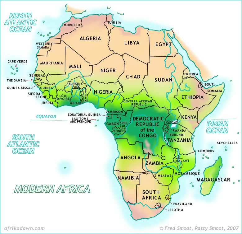 Africa Map Deserts Africa Map