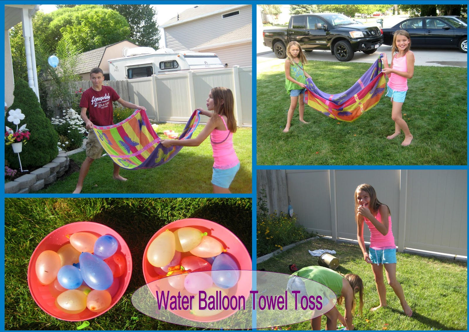 Beat the heat with water balloon towel toss love play learn for Fun balloon games for kids
