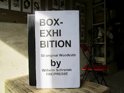 "WILHELM SCHRAMM (Bludenz, Austria) ""BOX-EXHIBITION 50 woodcut prints"" in the garage gallery ""тимуто"