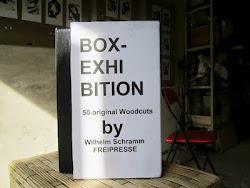 """WILHELM SCHRAMM (Bludenz, Austria) """"BOX-EXHIBITION 50 woodcut prints"""" in the garage gallery """"тимуто"""