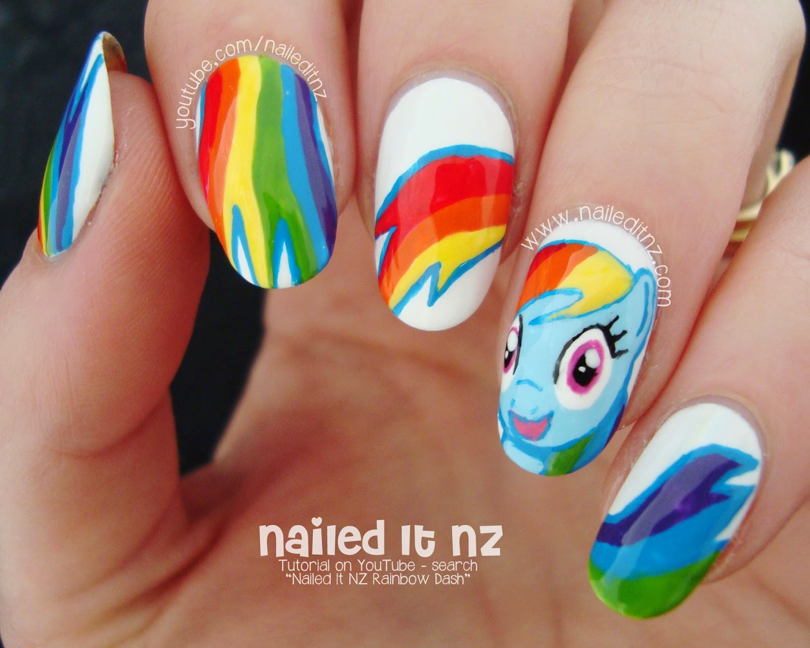 My little pony nail art rainbow dash tutorial im really happy with how the face turned out youll see in the video that it took a bit of work to get the details right but was worth it in the end prinsesfo Gallery