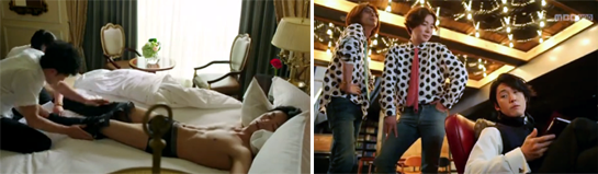 Jang Hyuk 장혁 as Lee Gun getting undressed by two men in his hotel room. / Lee Gun getting a report from two stylists.
