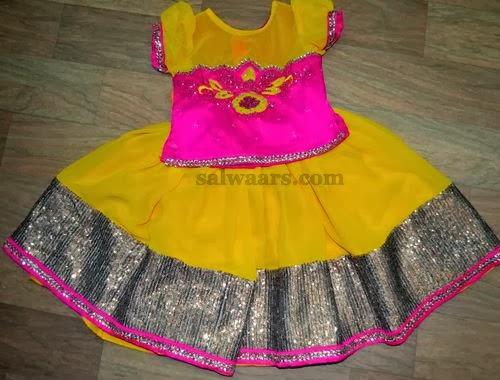 Mustard Chiffon Kids Skirt