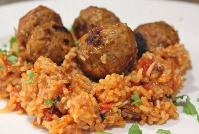 SPICY HARISSA RISOTTO & PORK MEATBALLS