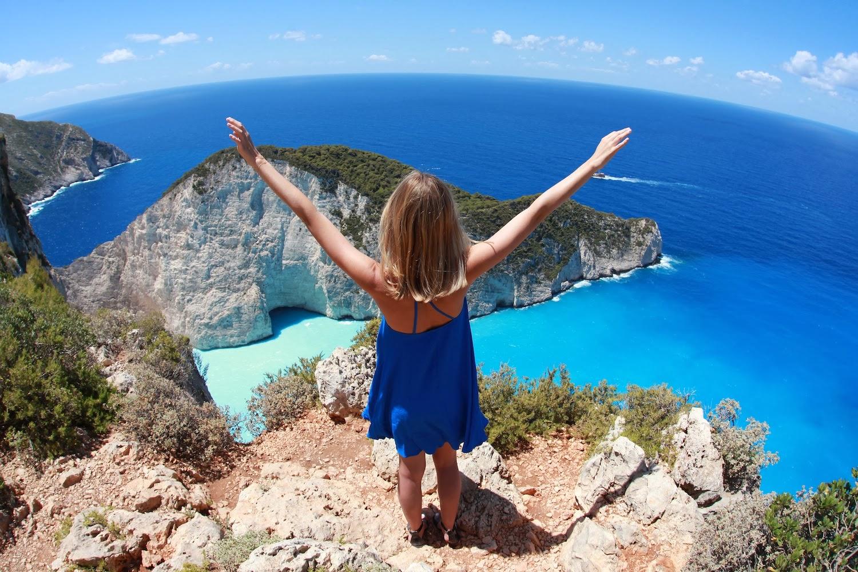 панорама на плаж в Гърция