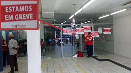 Clientes do banco Santander foram surpreendidos com a deflagração da greve também em Limoeiro.