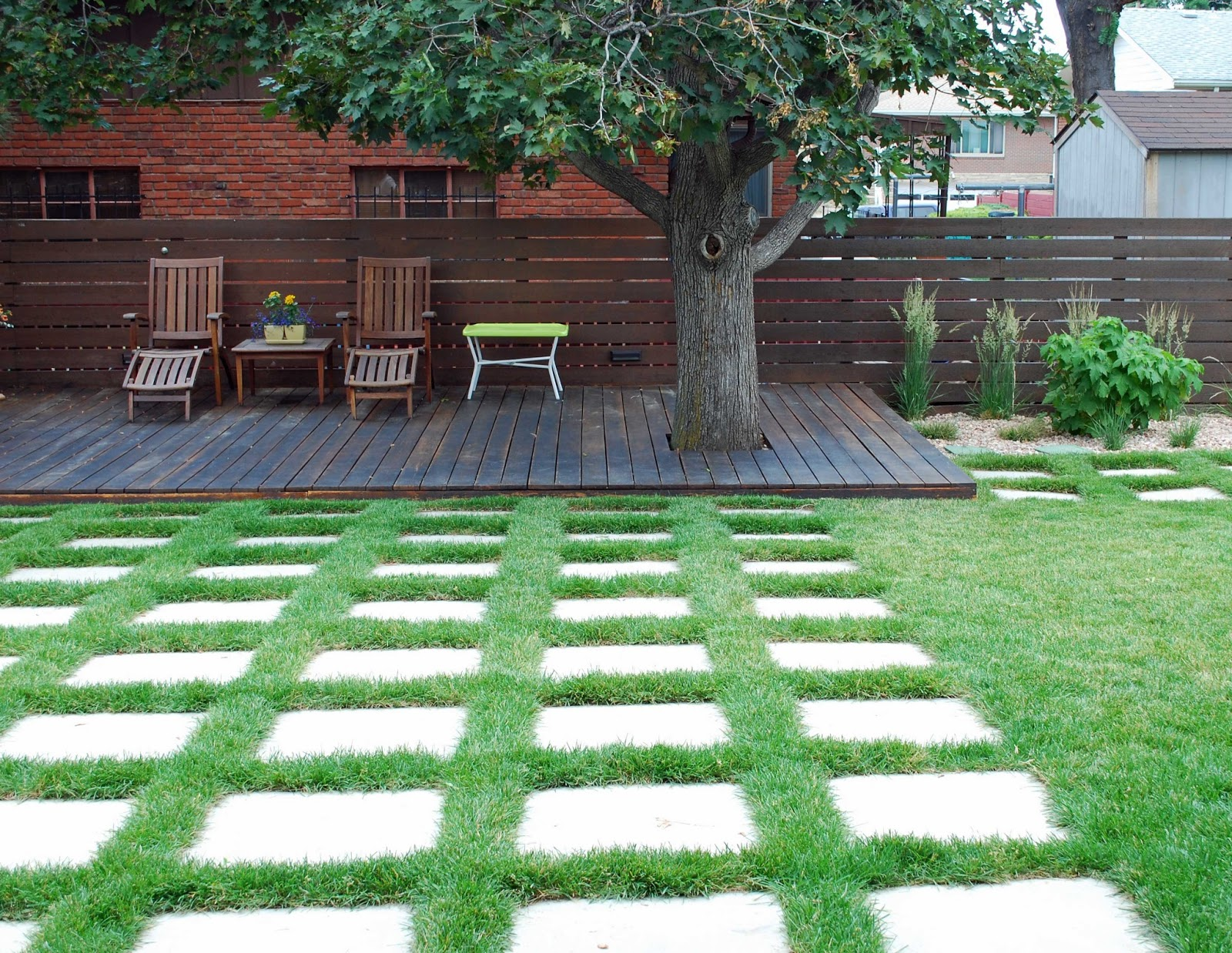 Landscape design focus modern garden share bristol for Garden decking and grass