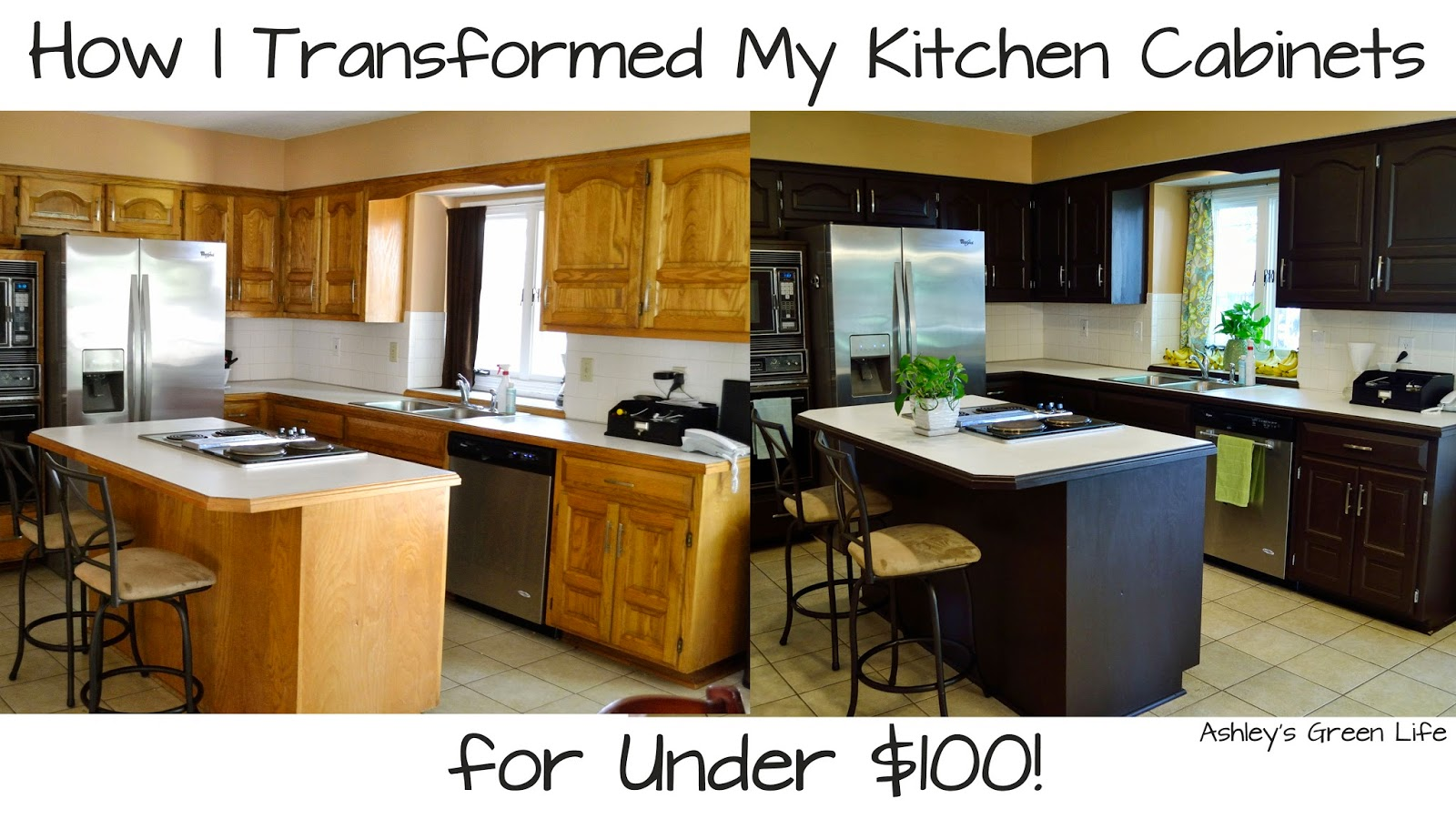 ashley s green life how i transformed my kitchen cabinets for they were this golden oak color that took my kitchen in a time machine back to a time when maybe those were cool cue early 90s but not here in 2014