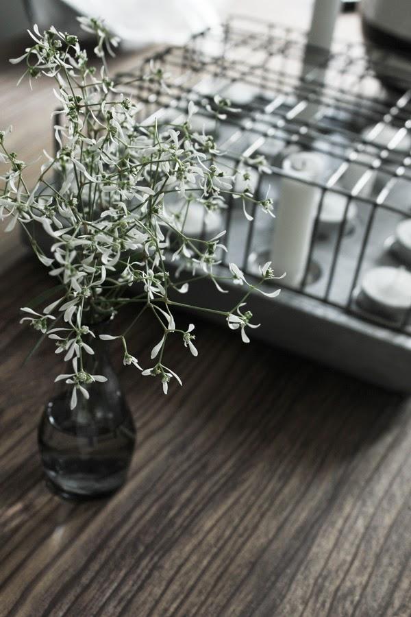 vita blommor, vit blomma, från altanen, stumpastake, liten vas, loppis, vaser, vaserna, grått, vitt, köksö, inspiration,