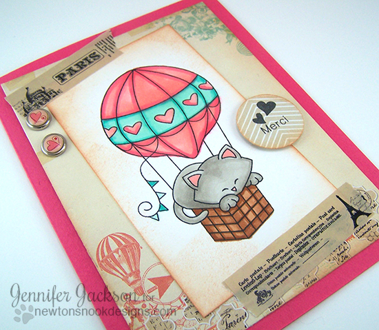 "Paris ""Merci"" Cat Card with Hot Air Balloon by Jennifer Jackson 