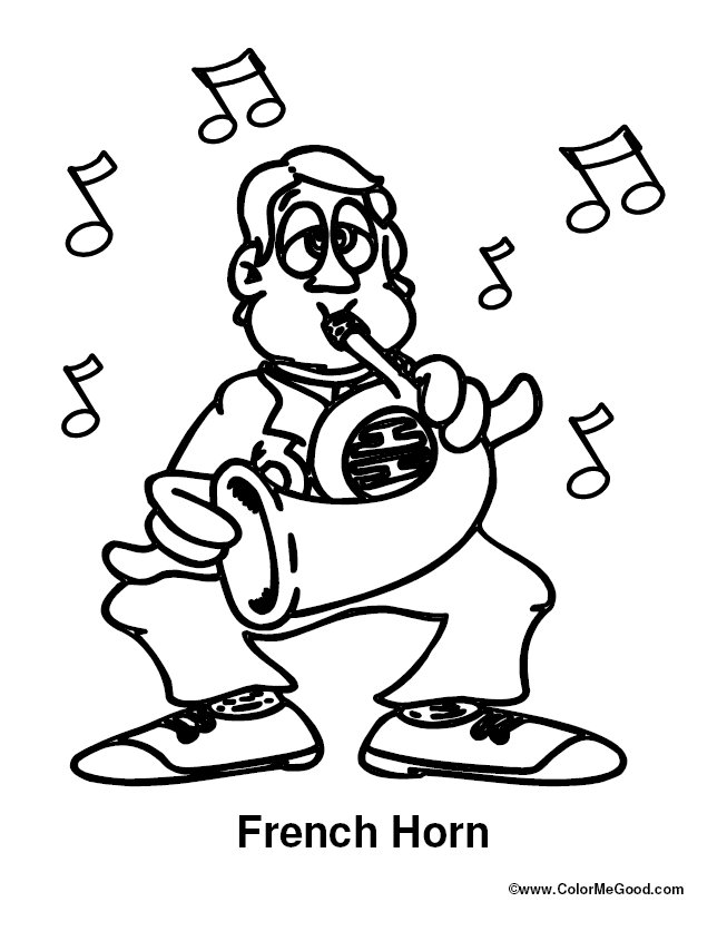 French horn coloring pages for French coloring page