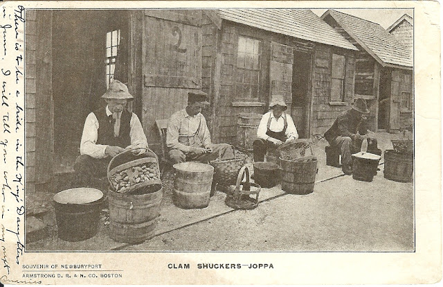 Clam Shuckers, Joppa, Newburyport, Massachusetts, postcard, front, clams