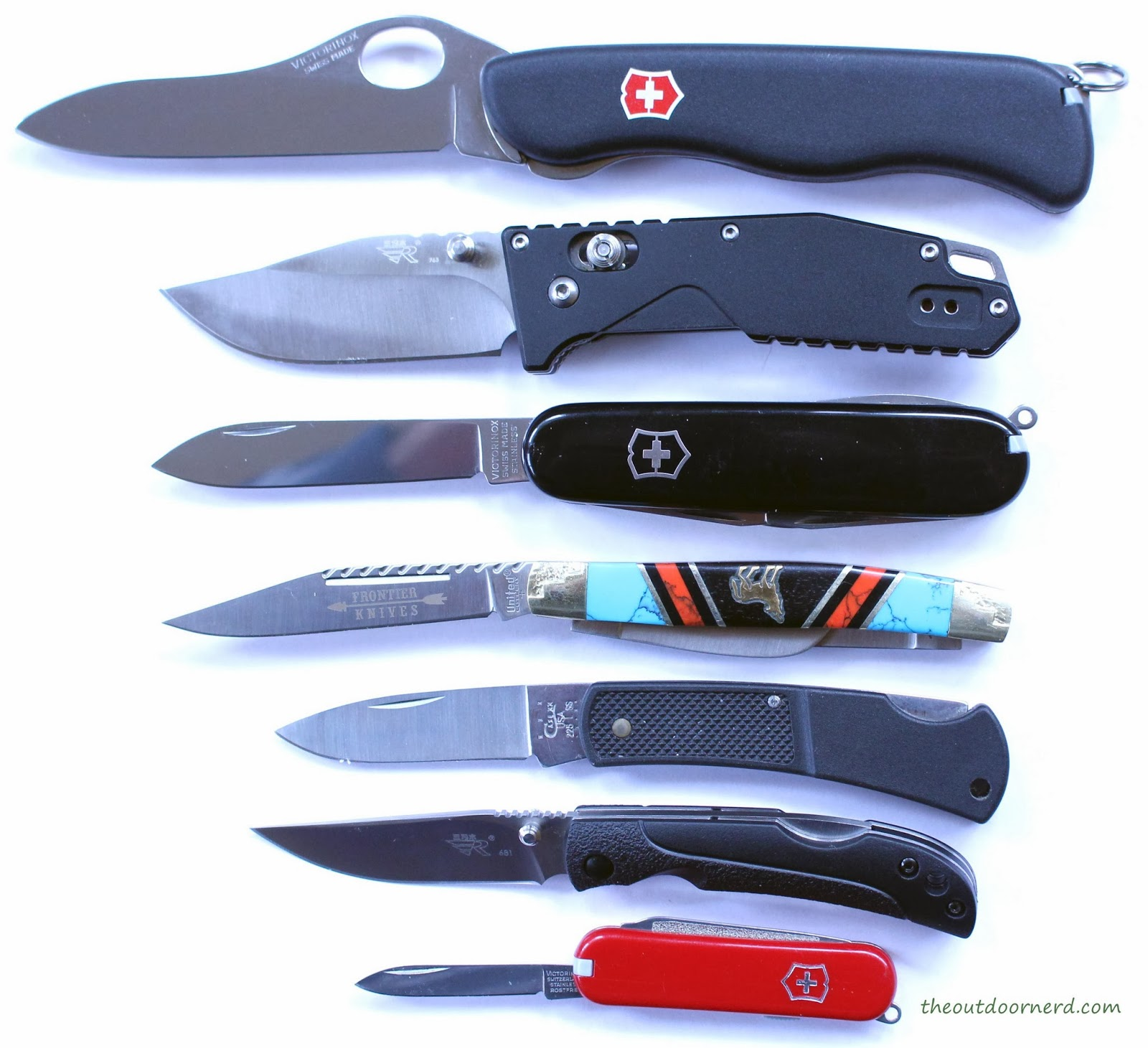 From Top: Victorinox Sentinel, SanRenMu LB-763, Victorinox Tinker, United Cutlery Wolf, Case XX, and Victorinox Classic