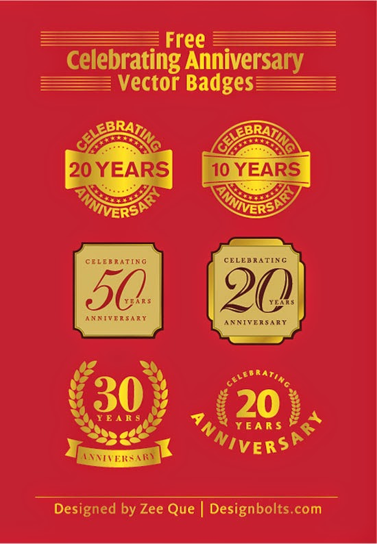 Celebrating Anniversary Vector Badges