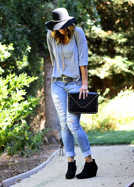 ripped denim black wedge shoes grey tee
