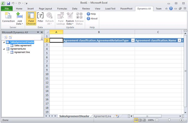 dynamics ax 2012 sales agreements import using excel add