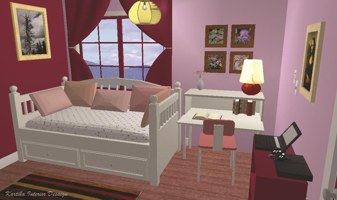 Ini adalah desain feminim untuk kamar tidur anak perempuan dengan luas ...