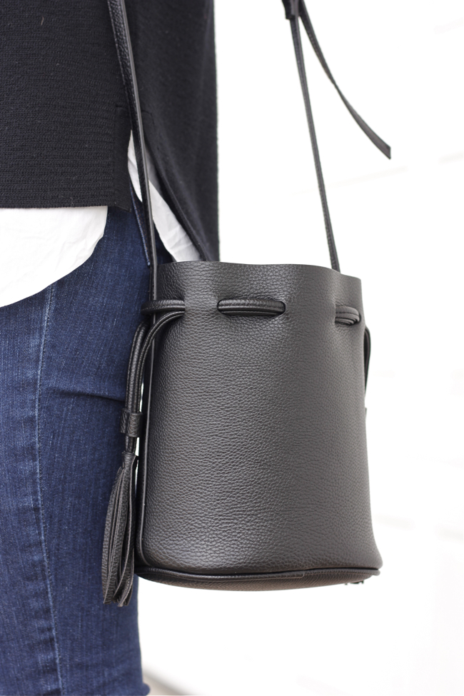 black bucket bag, H&M, tassel, leather