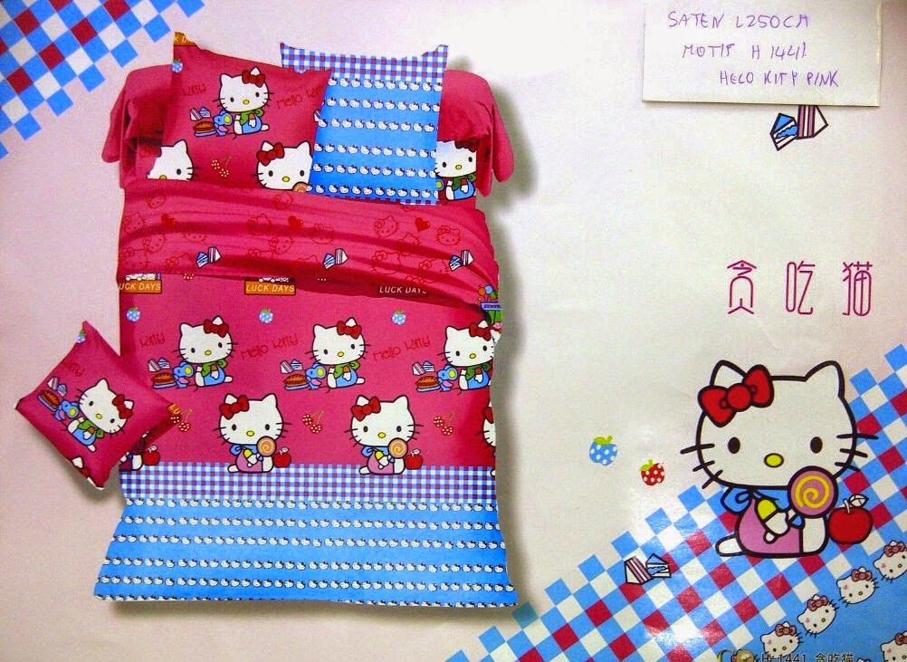 Sprei Pink Motif Hello Kitty