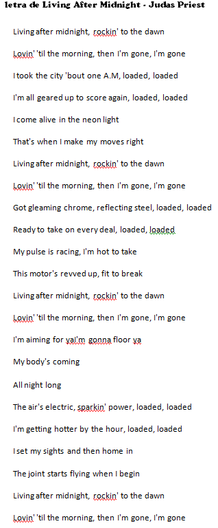 letra Living After Midnight judas priest