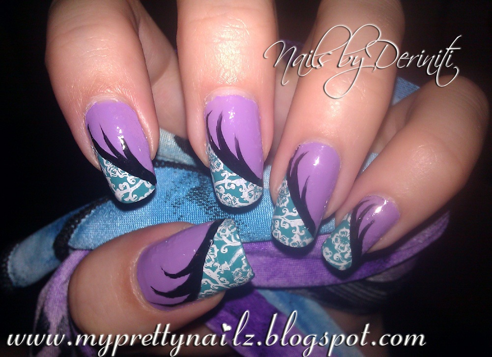 My Pretty Nailz: Fun Floral Purple and Teal Nail Art Design and ...