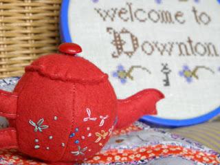downton abbey, sewing, swap, mugrug, pincushion