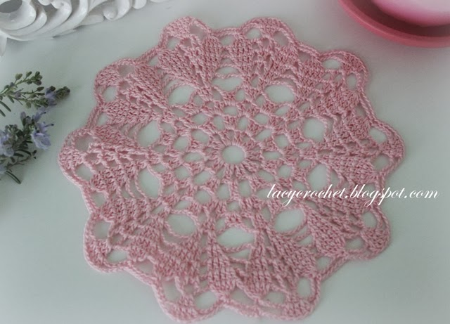 Free Crochet Patterns For Mini Doilies : Lacy Crochet: Small Pink Doily, My Free Pattern