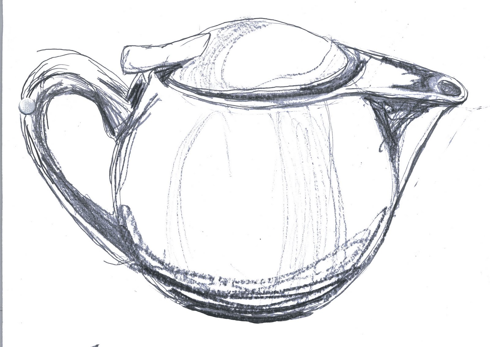 Scribble Drawing Objects : Jenny wren views of a teapot