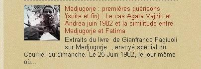 Medjugorje : premières guérisons '(suite et fin) : Le cas Agata Vajdic et Andrea juin 1982 et la si