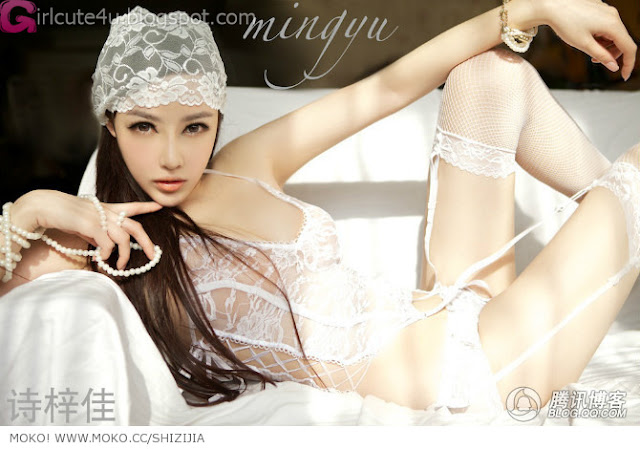 Shi-Zi-Jia-White-Lace-Merrywidow-01-very cute asian girl-girlcute4u.blogspot.com