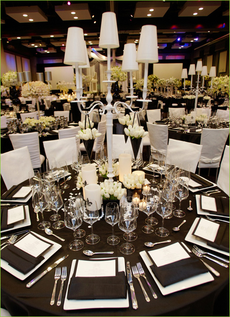 Black White could be an appropriate theme for a birthday party wedding