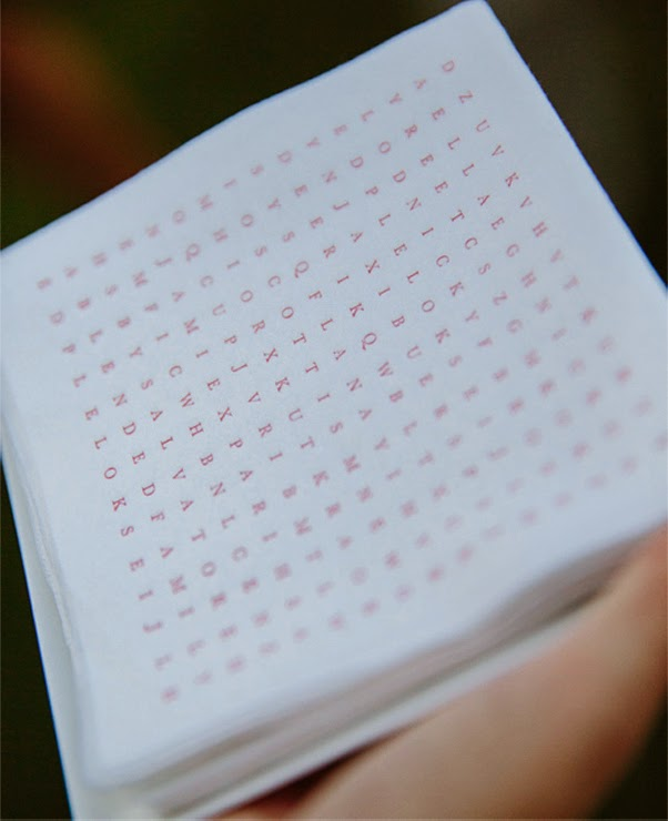 21 Insanely Fun Wedding Ideas - Display word search napkins at the bar