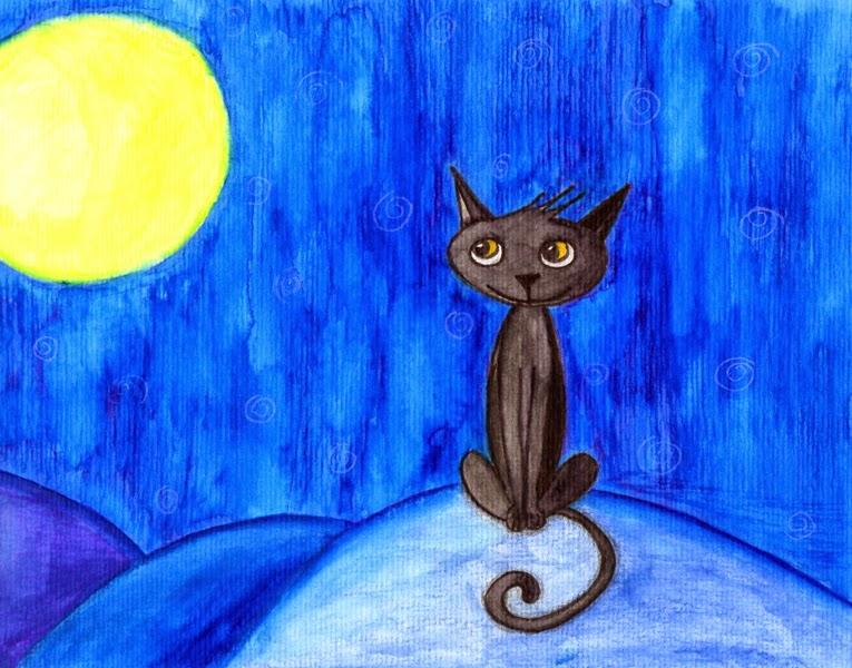 Gato negro mirando la luna