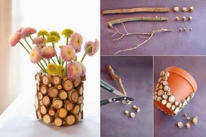 Mille idee casa vaso per piante con tronchetti for Mille idee per la casa