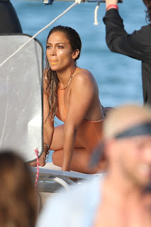 Jennifer Lopez filming her new music video in peach swimsuit